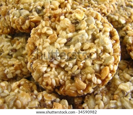 Sweet oatmeal cookies with crunchy toasted sunflower seeds