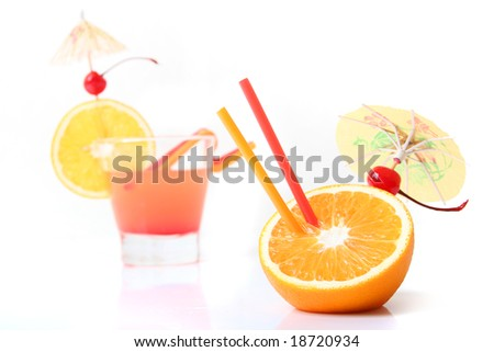 sweet orange cocktail with fruits