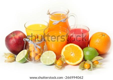 sweet orange juice on white - stock photo