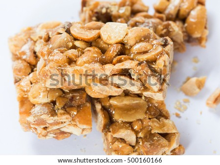 Sweet peanut candy  on white background.