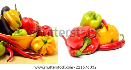 Sweet pepper, aubergine, chilli pepper in the plate isolated on white. Collage - stock photo