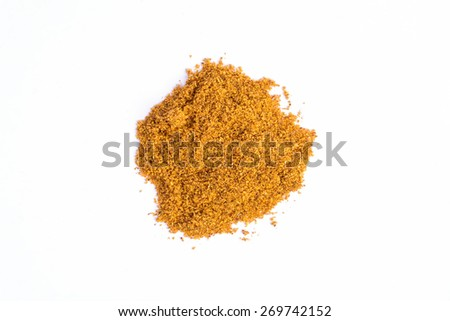 sweet pepper powder on white background