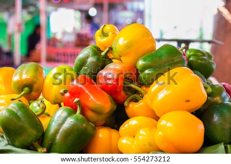 Sweet peppers in three colors