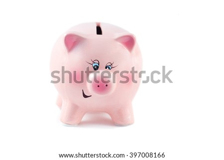 Sweet Piggy Bank is Winking on a White Background, Soft Focus