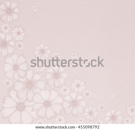 Sweet pink colour of cosmos  flowers on paper texture in pastel tone use for soft background wedding card, greeting card or invitation card. (blending and colour filter effect) - stock photo