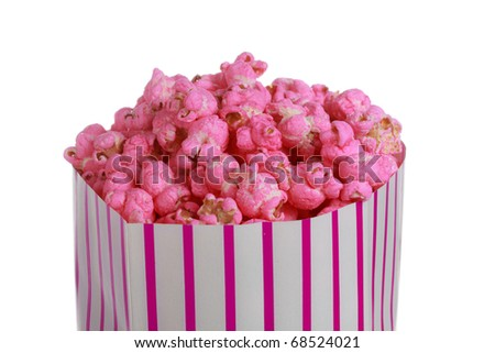 sweet pink popcorn in a paper bag, isolated on white background - stock photo