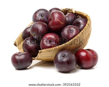 Sweet plum isolated on white background  - stock photo