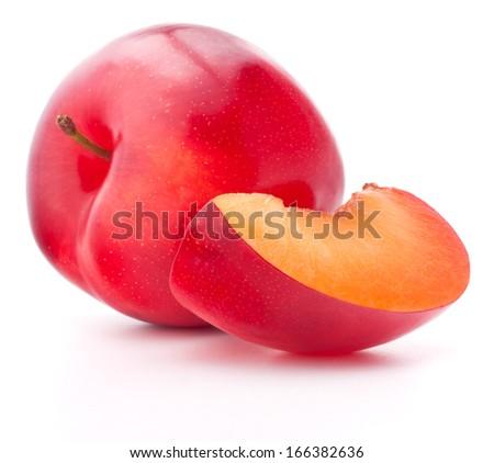 Sweet plum isolated on white background cutout - stock photo