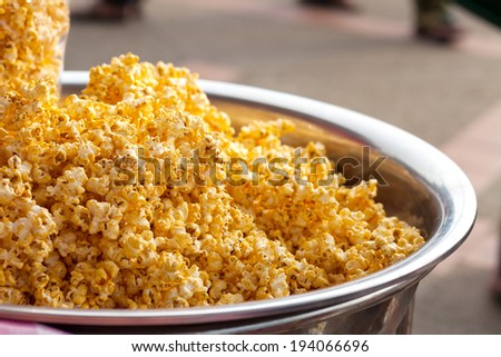 Sweet pop corn in big bowl - stock photo
