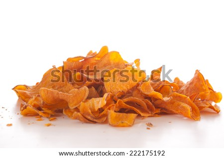 Sweet potato chips on white background - stock photo