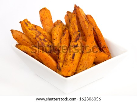 sweet potato fries white background - stock photo