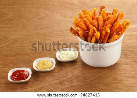 Sweet Potato Fries with Ketchup, Mustard and Herbed Mayonnaise Dipping Sauces
