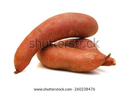 sweet potato on the white background - stock photo