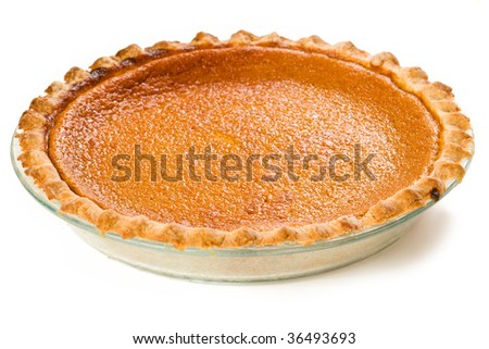 Sweet Potato Pie isolated on white - stock photo
