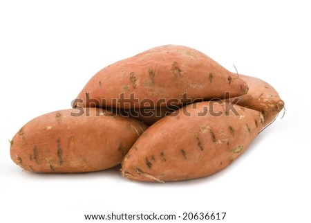Sweet potatoes on a white background. - stock photo