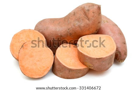 sweet potatoes on white background
