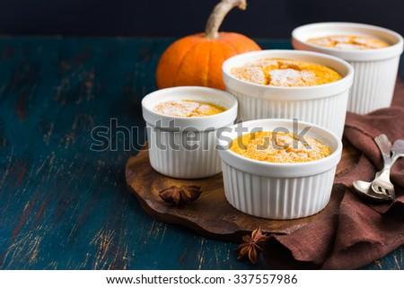 Sweet pumpkin  souffle , selective focus - stock photo