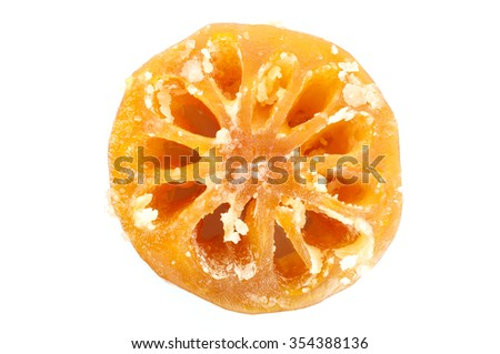 sweet quince crystallized, Thai food on white background - stock photo