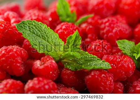 Sweet raspberries background