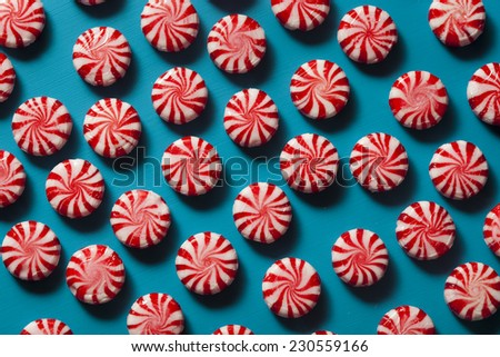 Sweet Red and White Peppermint Candy in a Bowl - stock photo