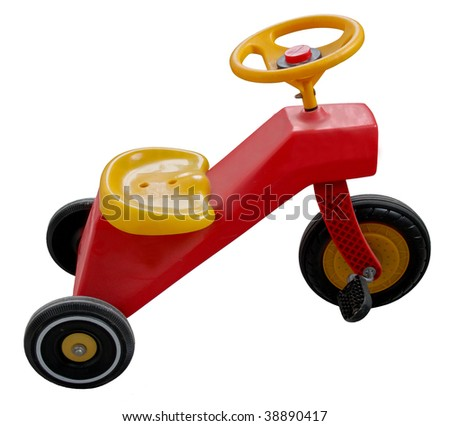 sweet red and yellow tricycle on white background - stock photo