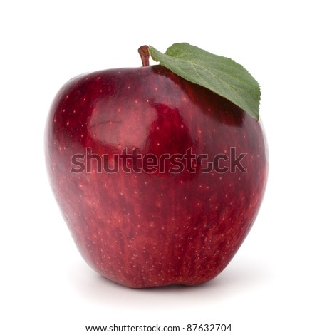 Sweet red apple with green leaf isolated on white background