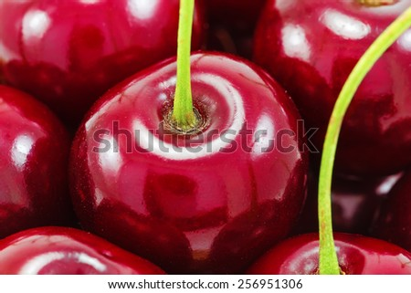 Sweet red cherries as a background, macro - stock photo