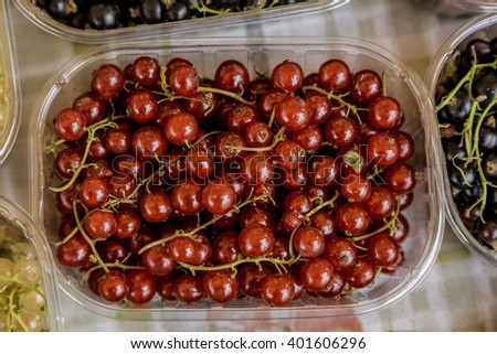 sweet red cherries in a box