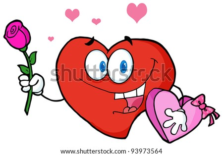 Sweet Red Heart Man Carrying Chocolates And A Rose .Vector version is also available - stock photo