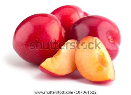 Sweet red plum isolated on white background cutout - stock photo