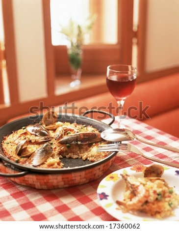 Sweet Red Wine and Tasty Healthy Risotto cooking isolated - for celebration party with delicious cuisine in family restaurant - stock photo