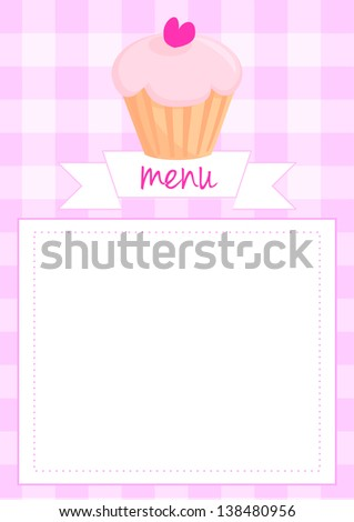 Sweet retro cupcake on pink vintage checkered pattern or grid texture background with white space for your own text message. Button, restaurant menu card, list or wedding invitation. - stock photo