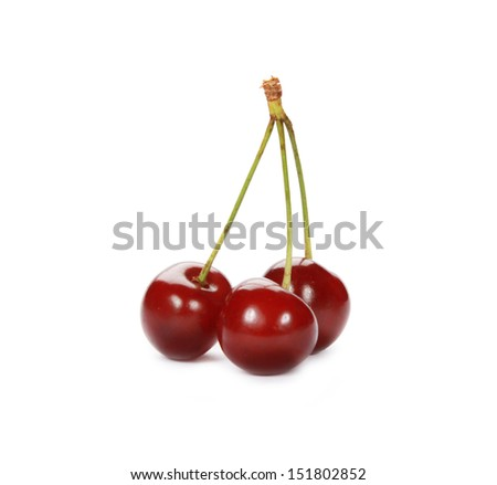 Sweet ripe cherry on white background