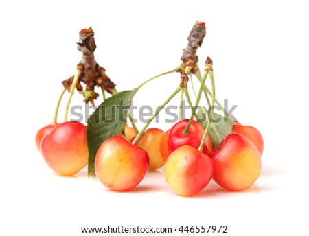 Sweet ripe cherry with leaf - stock photo