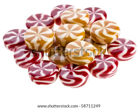 Sweet round colorful striped caramel candy - stock photo