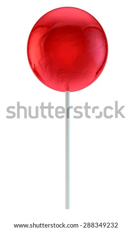 sweet round red sugar candy on a plastic stick - stock photo