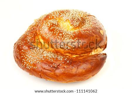 Sweet round sabbath challah isolated on white background - stock photo