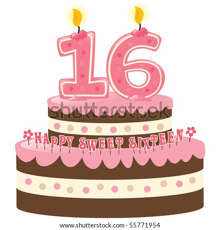 Sweet Sixteen birthday cake w/ numeral candles - stock photo