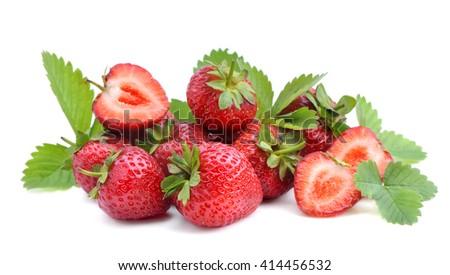 Sweet strawberry isolated on white background. - stock photo