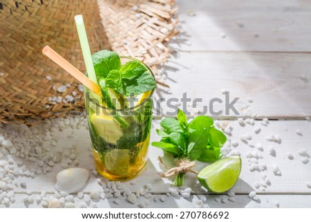 Sweet summer drink with mint leaf - stock photo