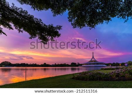 Sweet sunset at Suan luang Rama 9 park, Central of Bangkok, Thailand - stock photo