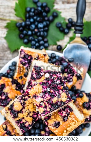 Sweet tart with bilberry fruits, yeast pie, summer baking concept, view from above - stock photo