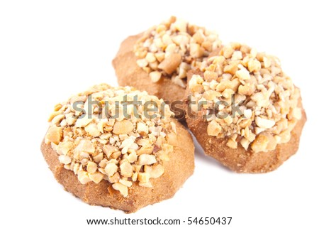 sweet tasty cookies on a white background - stock photo