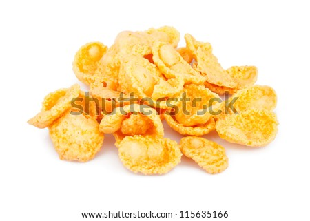Sweet, tasty cornflakes, dry crispy on white, food photo - stock photo