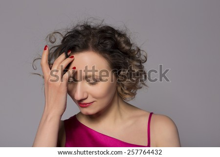 sweet tender girl with curly styling - stock photo