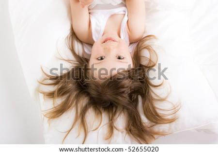 sweet toddler little girl sleeping - stock photo