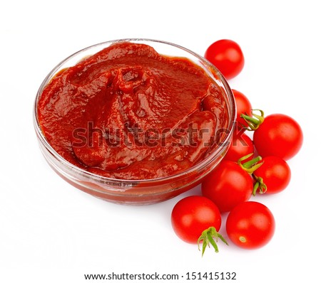 Sweet tomatoes close up on white - stock photo