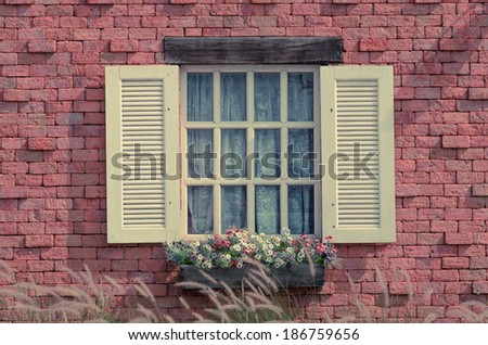 sweet vintage window with flower and grass.