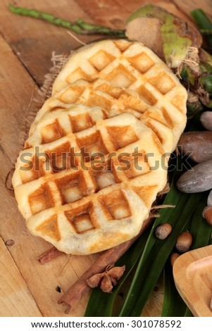Sweet waffles and fresh milk with jam