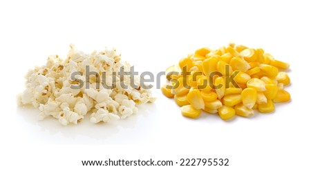 Sweet whole kernel corn and pop corn on white background - stock photo